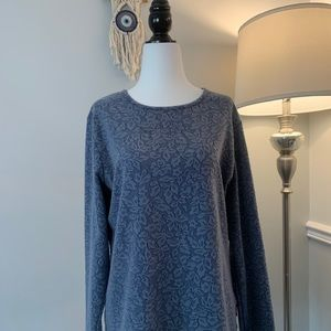 Woolrich Blue Floral Print Sweater Size Large